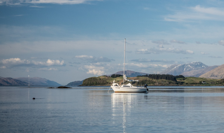 Peaceful anchorage off Port Ramsay, Lismore